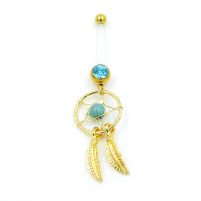 Pregnancy Belly Button Ring Goldtone DREAM CATCHER Turquoise Bead 14g Jewelry
