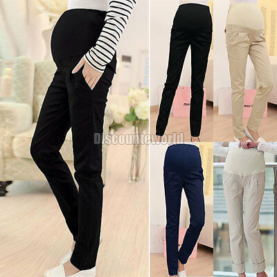 New Women Pregnancy Maternity Over Bump Pencil Pants Trousers