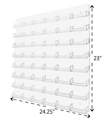 48 Pocket Clear Acrylic Wall Business Card Holder Display Rack Space Saver