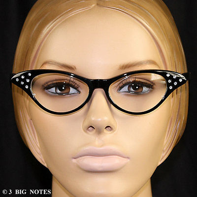 Black 50s Retro Cat-Eye Glasses with Rhinestones for Poodle Skirt