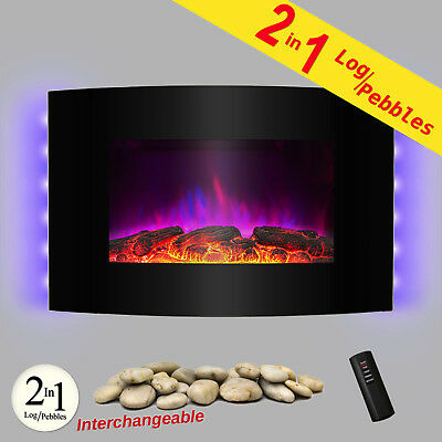 """36"""" Tempered Glass Electric Fireplace Heat Wall Mount Adjustable Heater 2-in-1"""