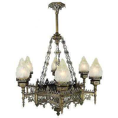 Large Victorian Gothic Flame Shade Torch Style Chandeliers Lights (685-CH-DK)