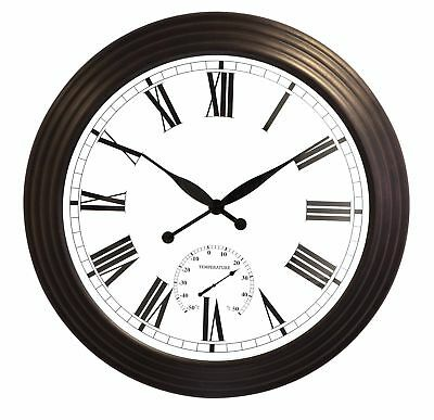 Giant Round Garden Wall Clock Outdoor Large Brown Thermometer Roman Antique