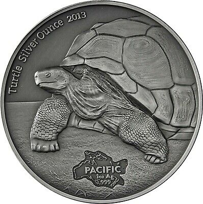 Pazifik Serie - Tokelau 5 Dollars Silber 2013 Antique Finish Turtle Silver Ounce
