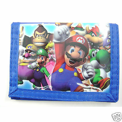 LATEST Super Mario Bros Brother Luigi Blue 3-Fold Coins Bag Purse Wallet