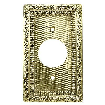 Quality Solid Brass Victorian Round Plug Outlet Decorative Cover Plate (L-W4)