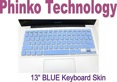 """New Silicone Keyboard Cover Skin For Apple New Macbook Air 13"""" 13.3"""" Blue"""