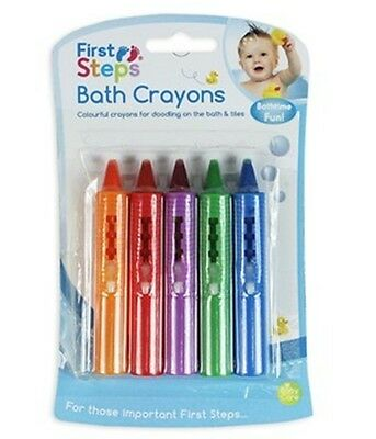 First Steps Pack of 6 Baby Bath Crayons for Fun in Bath - Non Toxic Bath Toys!