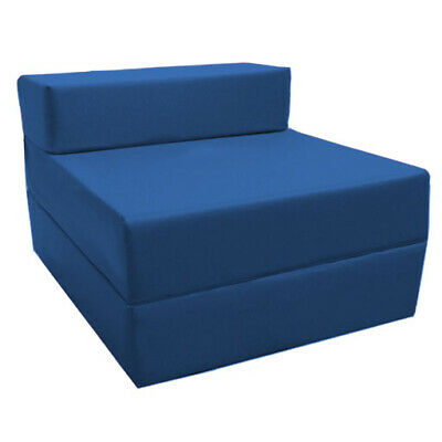 Blue Budget Fold Out Z Bed Futon Kids Sleepover Guest Chair Sofabed Mattress