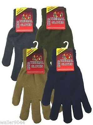 Mens Gents Youths Thermal Warm Knitted Gloves One Size Assorted Colours