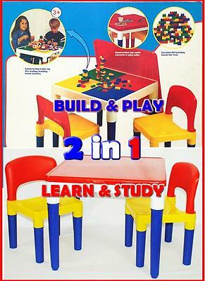 New Children 2 In 1 Study Kids Block Building Table and Chair Set Play Toys Gift