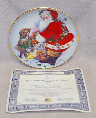 """Magical Royal Doulton """"exchanging Christmas Love"""" Collectors Plate, New!"""