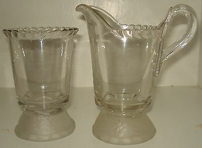 Eapg Gillinder & Sons Frosted Reclining Lion Collared Base Spooner And Creamer