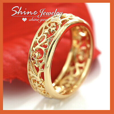 9K Gold Gf R271 Love Heart Lab Diamond Wedding Bridal Gift Lady Girl Solid Ring