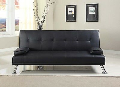 Stunning Faux Leather Italian Designer Style Sofa Bed with Chrome Legs 4 Colours