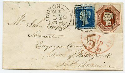 "Rare 1856 cover Darlington to USA with 2d blue and 10d embossed  ""233"" duplex"