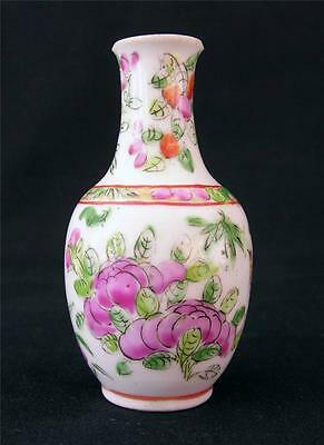 Antique Chinese Porcelain Miniature Famille Rose Vase, Late 19thC.