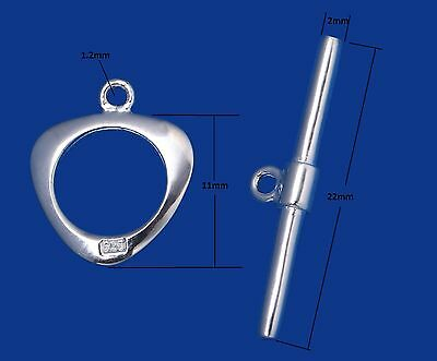 Genuine 925 Sterling Silver Heart Ring Bar Toggle Clasp Jewellery Findings 11mm