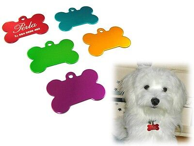 Bone Shape Pet-Dog ID Tag. Choose from 5 colors LASER ETCHED