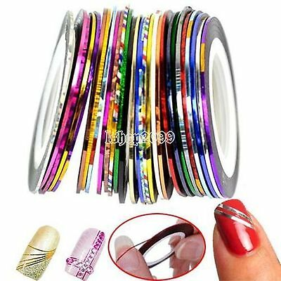6 Rouleaux Striping decoration ongle FIL BANDES STICKER NAIL ART AUTOCOLLANT