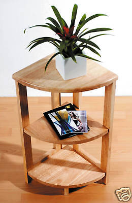 3 Tier Solid Wood Wooden Corner Unit Side Coffee Table Shelf Natural Rubberwood