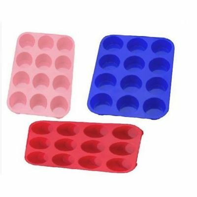 12 Muffin Silicone Bakeware Cupcake Bread Loaf Cake Pan Flat Tin Mould