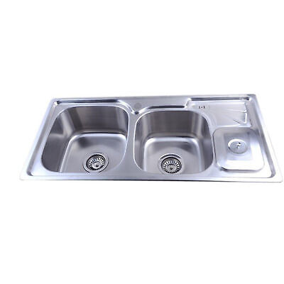 Easy ES3023 Right / Left Side 1.5 Bowl Stainless Steel Kitchen Sink & Waste