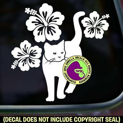 Hibiscus Cat Feline Kitty Window Bumper Car Sign Vinyl Decal Sticker
