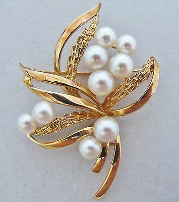 "2.4"" Vintage 14K Yellow Gold White Pearl / Pearls Brooch Pin  (12 grams)"