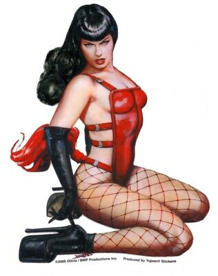 RETRO SEXY Rare BETTIE BETTY PAGE New RED CORSET STICKER/Vinyl DECAL  By OLIVIA