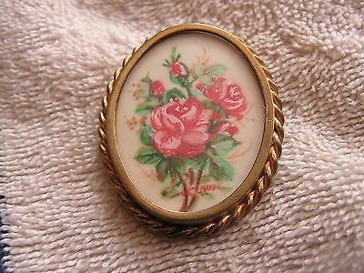 Vintage Antique Hand Painted Roses Cameo signed Claude