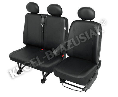 Tailored Van 2+1 ECO Leather Seat Cover Practical Black VW LT, Transporter