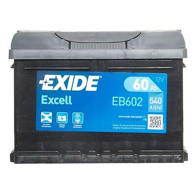 Type 027 Car Battery 540CCA OEM Replacement Exide Excell 12V 62Ah 3 Years Wty