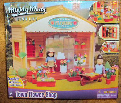 RARE Mighty World Town Flower Shop Set New In Box Town Life