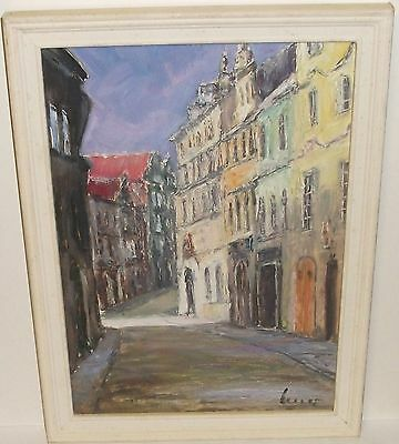 Ivan Benes Neruda Street In The Lesser Town Czech Original Oil On Board Painting