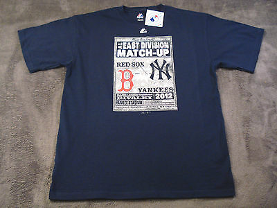 18fb5a947 *NEW* NAVY MAJESTIC MLB NEW YORK YANKEES & BOSTON RED SOX 2012 RIVALRY T