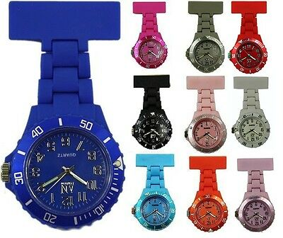 AN London High Quality Coloured Rubberised Plastic Nurses Fob Watch –AN8743