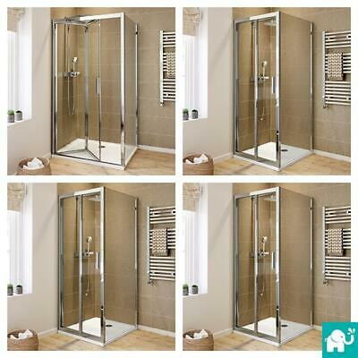 Luxury Easy Clean Bi Fold Shower Enclosure Door Glass Screen Door + Tray