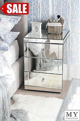 Mirrored Bedside Table cabinet 3 Drawers with Plinth  (LUCIA)