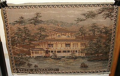 Kyoto Kinkakuji Japanese Temple Vintage Silk Embroidery Tapestry Painting