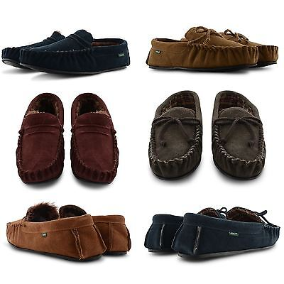 NEW MENS DUNLOP GENUINE SUEDE FUR LINING FLAT INDOOR MOCCASIN SLIPPERS SHOES UK