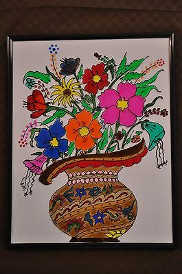 Stained glass painting - colorful flower pot