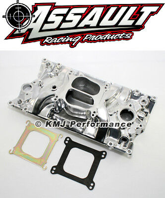 SBC Chevy Dual Plane Polished Aluminum Intake Manifold for Vortec 350 Heads