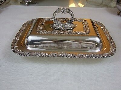 Vintage Heavyweight Silver Covered Serving Dish-Grapes