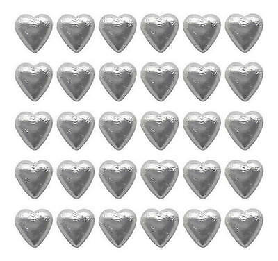 100 Cadbury Chocolate Silver Hearts-Wedding Favours Christmas Birthday Parties