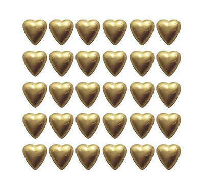 100 Gold Foil Milk Chocolate Hearts - Wedding Favours Christmas Parties