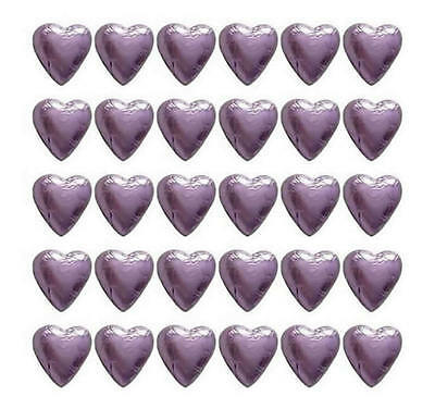 100 Lilac Milk Chocolate Hearts - Wedding Favours Birthday Parties Candy Bar