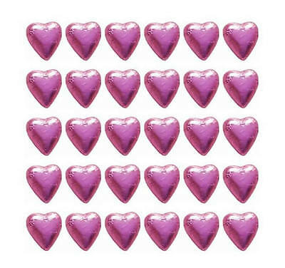 100 Pink Foil Milk Chocolate Hearts - Wedding Favours Birthday Parties Candy Bar