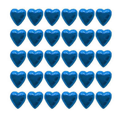 100 Blue Milk Chocolate Hearts - Wedding Favours Birthday Parties Candy Buffet