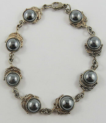Br-21 Sterling Silver  Ladies Hematite Bracelet. See Pictures